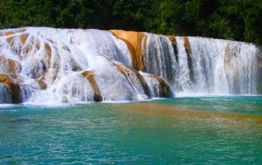 Natural attraction in Mexico, the Cascades de Agua Azul