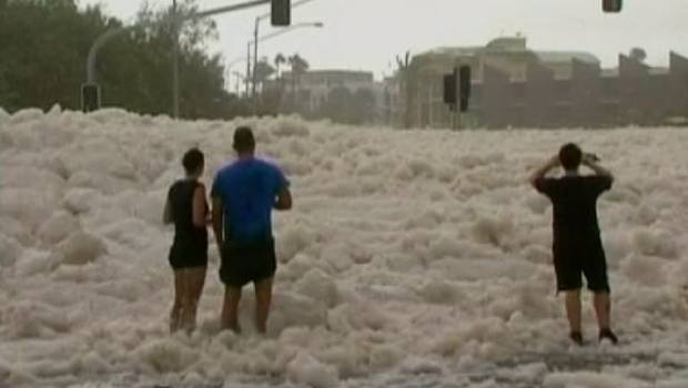 Foam covered the streets in Australia