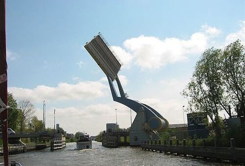 Amazing Bridge in the city of Leeuwarden in the Netherlands