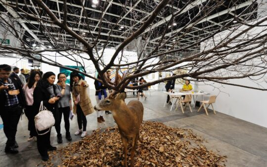 Surrealist sculptures captivate crowds at the Art Basel fair in Hong Kong