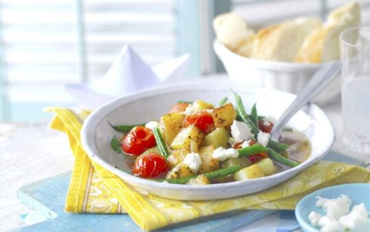 Stewed vegetables with feta cheese