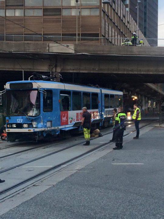 Tram derailment in Oslo yesterday 1