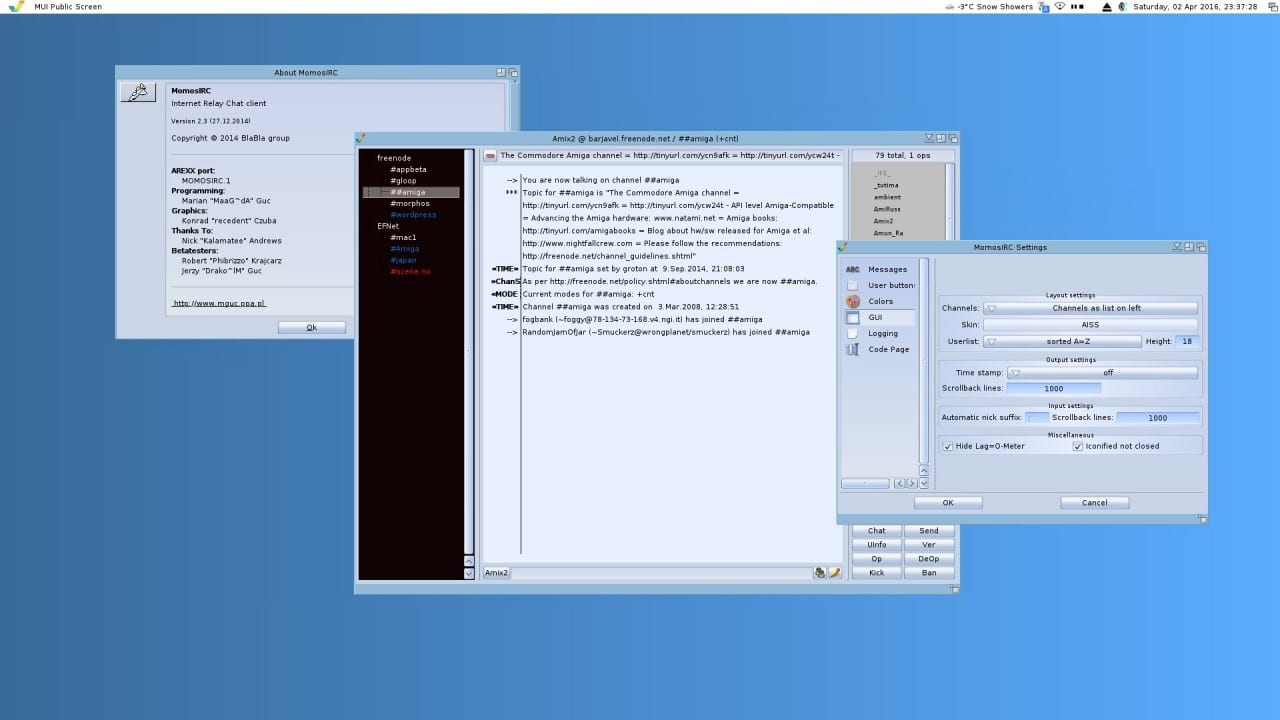 MomosIRC for MorphOS