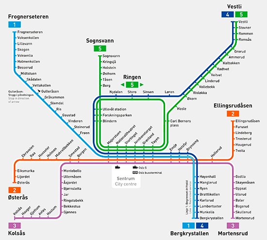 Metro map of Oslo
