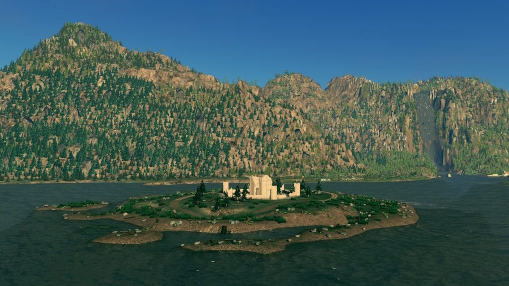 Ruins on an island in the river