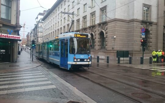 Prinsens gate opened for trams running in both directions in Oslo, Norway