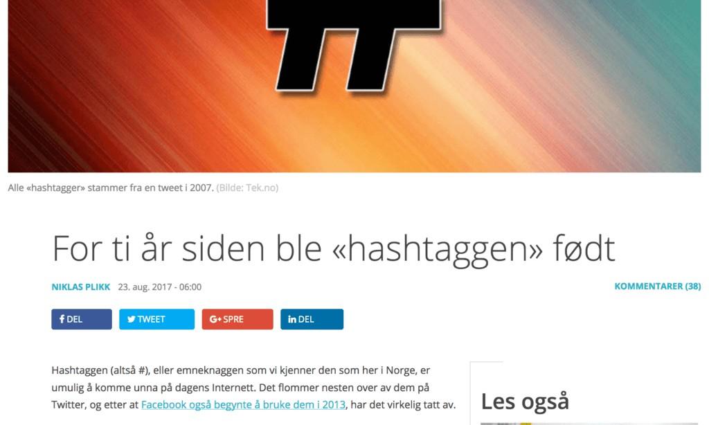 hashtag info on tek.no