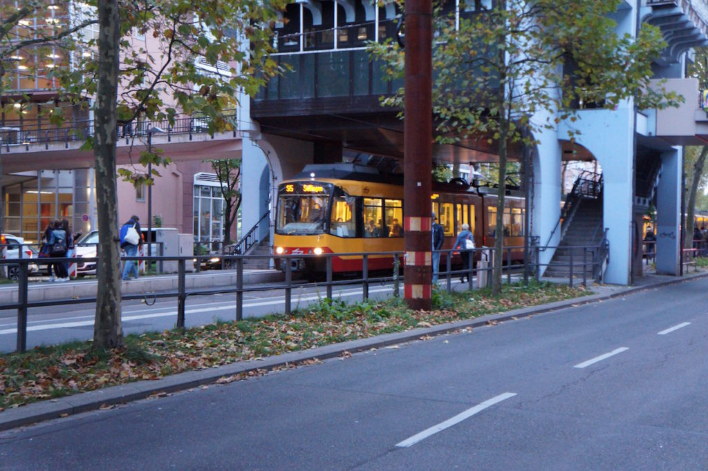 Karlsruhe tram in the middle of the road