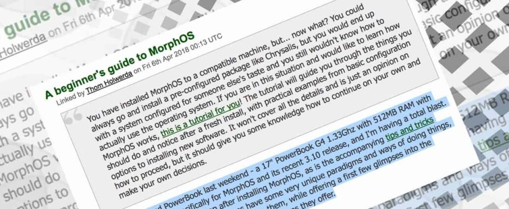 First PC site to have a MorphOS blast