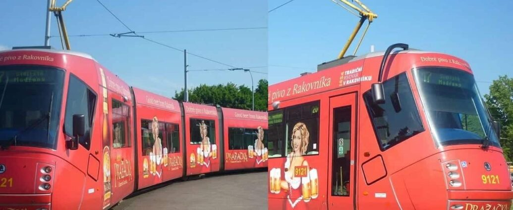 Trams with a Sexy Lady holding Beer