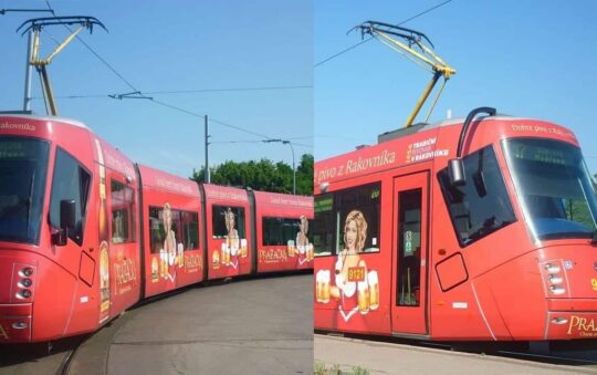 When Skoda Pumps Up Their Trams with a Sexy Lady holding Beer