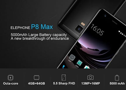 Elephone P8 Max specs, Best cheap China Android Phones