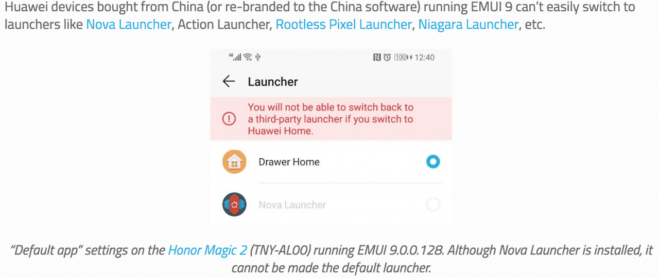 Third-party launchers is now Blocked by Huawei and Honor