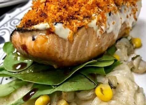 Baked salmon with orange and Parmesan crust