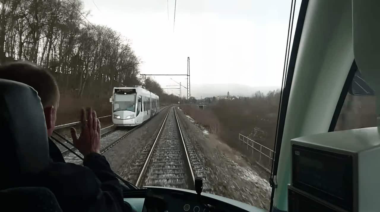 Light Rail on railway tracks