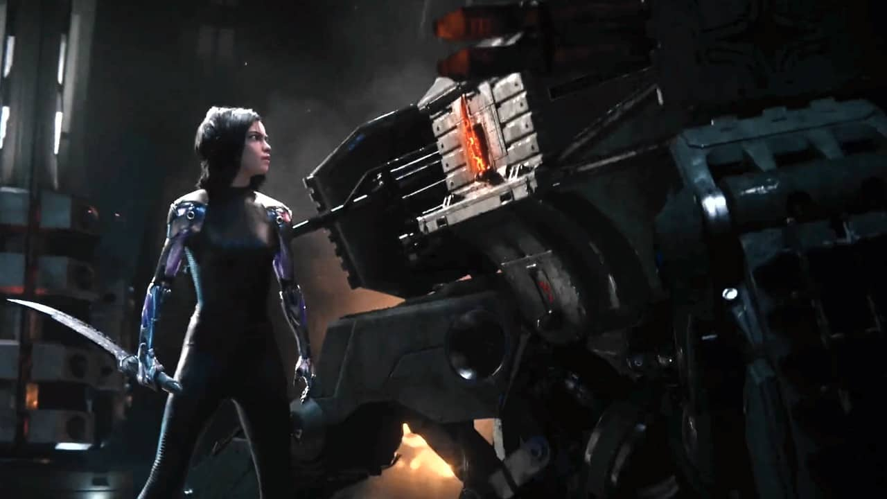 Alita Battle Angel facing robots