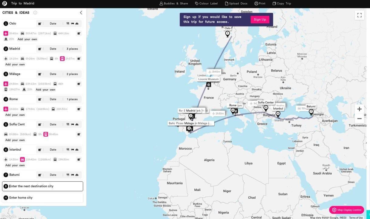 using Pebblar for travel planning